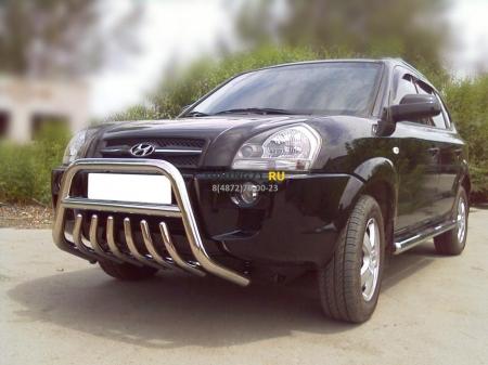 Hyundai Tucson 2004-2010г.в.-Дуга передняя низкая d-60 с защитой картера d-43